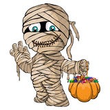 Vector isolated illustration of a merry mummy for Halloween. Isolated illustration of a merry mummy for Halloween stock illustration
