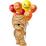 Vector isolated illustration of a merry mummy for Halloween with balloons.  Royalty Free Stock Photo