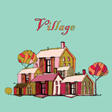 Vector isolated illustration about village. Royalty Free Stock Photos