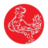 Fiery red rooster 2017. Vector isolated image of silhouette of a rooster in a fiery red circle. Chinese Zodiac Calendar 2017n Royalty Free Stock Images