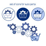 Vector isolated images of trolleys and bearings. Icons show car parts. Seth is blue. Stock Images