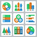 Vector isolated infographics related icons Royalty Free Stock Images