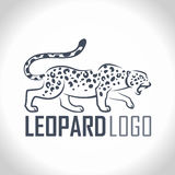 Vector isolated leopard or jaguar logo labe. L  illustration Stock Images