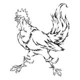 Rooster Chinese zodiac. Vector isolated line loop fire rooster Chinese zodiac sign in 2017 Royalty Free Stock Photography