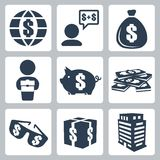 Vector isolated money icons set Stock Photo