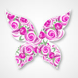 Vector Isolated multicolor butterfly. Paper butterfly Logo with roses Stock Photo