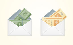 Vector isolated opened white envelope with cash Royalty Free Stock Images