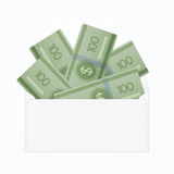 Vector isolated opened white envelope with cash Stock Photo
