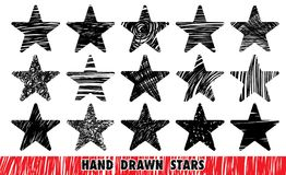 Hand drawn stars. Vector isolated outline hand drawn stars, a doodle sketch cartoon style, scribbled stars set Stock Image