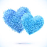 Vector isolated pair of blue fluffy hearts Stock Photography