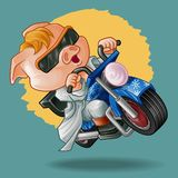 Vector isolated pig rider on background. stock illustration