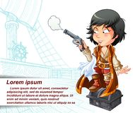 Vector isolated pirate is carrying gun in pirate ship. vector illustration