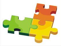 Vector isolated puzzle. Vector puzzle isolated on white Stock Image