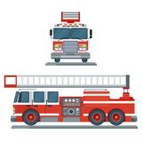 Red fire engine. Vector isolated red fire engine front and side view. Fire truck rescue engine transportation. Firefighter emergency. Flat cartoon illustration Royalty Free Stock Photography