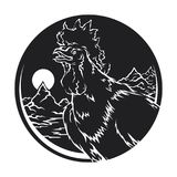 Fiery rooster Chinese zodiac  sunrise. Vector isolated silhouette fiery rooster Chinese zodiac sign in 2017 on a round background sunrise in nature Stock Images