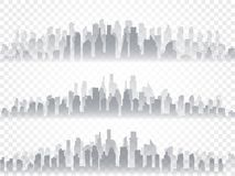 Vector isolated silhouette set of big city town, skyscrapers building, business centers. Twilight, blue sunset, panorama Stock Photography