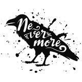 Vector isolated silhouette of a sitting raven, crow. Black bird design with text nevermore, ink splashes stock illustration