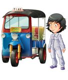 Vector isolated Thai driver and motor tricycle. royalty free illustration