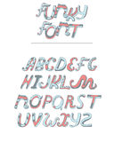 Vector isolated on white background hand drawn alphabet from A to Z drawn in pastel colors blue and pink. Cursive style font good Stock Photo