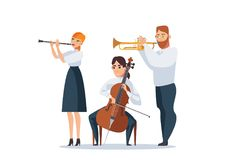 Vector isolated on white group of people playing musical instruments as cello, flute, trumpet. Beautiful people playing classical. Music vector illustration