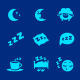 Vector isolated white sleep concept icons set. Pillow,  bed, moon, sheep and zzz Royalty Free Stock Photos