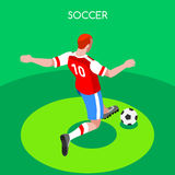 Vector isométrico 3D de los juegos del verano del huelguista del fútbol Fotografía de archivo libre de regalías