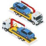 Vector isométrico de la grúa Ejemplo plano del camión de remolque del coche 3d Grúa para las faltas y la emergencia del transport Imagen de archivo libre de regalías