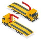 Vector isométrico de la grúa Ejemplo plano del camión de remolque del coche 3d Grúa para las faltas y la emergencia del transport stock de ilustración