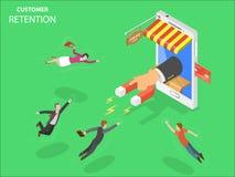 Vector isométrico de la retención del cliente de la tienda en línea stock de ilustración