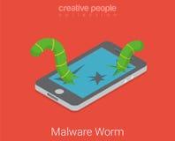 Vector isométrico plano 3d del software del app del virus del gusano de Malware Foto de archivo