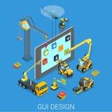 Vector isométrico plano del app de la interfaz de usuario móvil del diseño UI UX del GUI