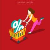 Vector isométrico plano del consumidor de las compras de Black Friday de la precipitación de la venta Fotos de archivo libres de regalías