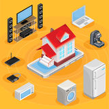 Vector isometric abstract illustration smart home, controlling through internet home work equipment. Stock Image