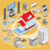 Vector isometric abstract illustration smart home, controlling through internet home work equipment. Stock Photography