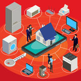 Vector isometric abstract illustration smart home, controlling through internet home work equipment. Royalty Free Stock Photos