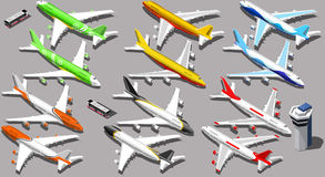 Vector Isometric Aeroplane 3D Aircraft Plane Stock Images
