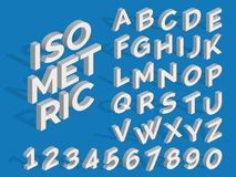 Vector isometric alphabet and numbers. Funky 3d font. Isometric three-dimensional number and abc illustration Stock Images