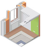 Vector isometric apartment cutaway icon. Detailed isometric cutaway icon representing modern apartment in renovation process Royalty Free Stock Images