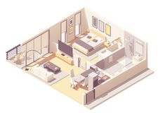 Vector apartment hotel suite royalty free stock photography