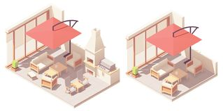 Vector isometric patio with barbecue grill royalty free stock image