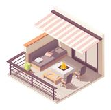 Vector isometric balcony with outdoor furniture royalty free stock photography