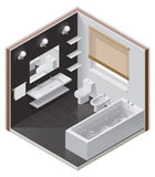 Vector isometric bathroom icon. Detailed isometric cutaway icon representing modern bathroom Stock Photos