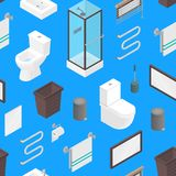 Vector isometric bathroom and lavatory toilet furniture elements heater, toilet bowl, mirror and skincare tubespattern. Vector isometric bathroom and lavatory Stock Photography
