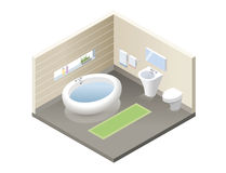 Vector isometric bathroom, set of modern bath furniture icons. Bathroom isometric retro interior, 3d flat design of home elements, interior design stock image