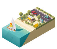Vector isometric beach camping Royalty Free Stock Photography