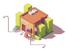 Vector isometric bicycle shop Stock Photo