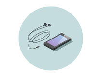 Vector isometric black smartphone with headphones. Royalty Free Stock Images