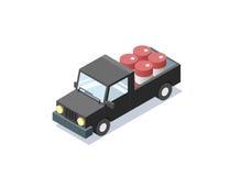 Vector isometric black wagon car with blue barrels, minivan, trucks for cargo. Royalty Free Stock Photos