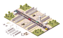 Vector isometric border checkpoint vector illustration