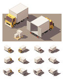 Vector isometric box truck icon set royalty free illustration